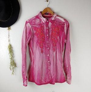 Roar Hot Pink Western Bling Rodeo Button Down